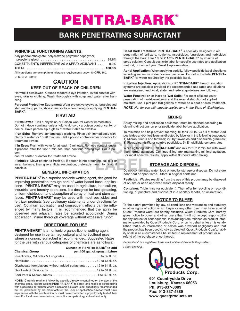 Pentra Bark Penetrating Surfactant - Quart (32oz)