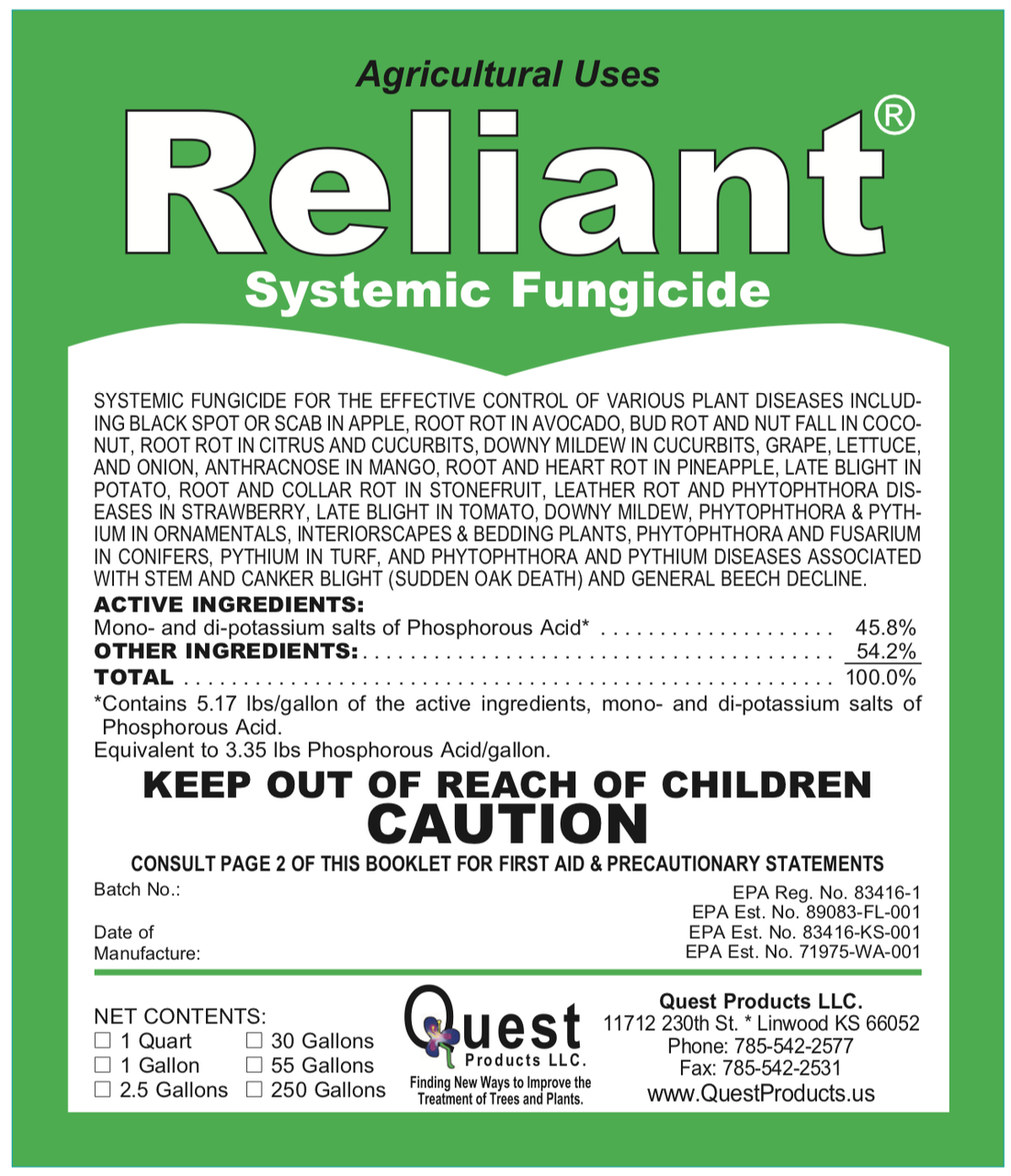 Reliant + Pentra-Bark Sudden Oak Death Combo 1 Gallon/8oz (Agri-Fos/Garden Phos)