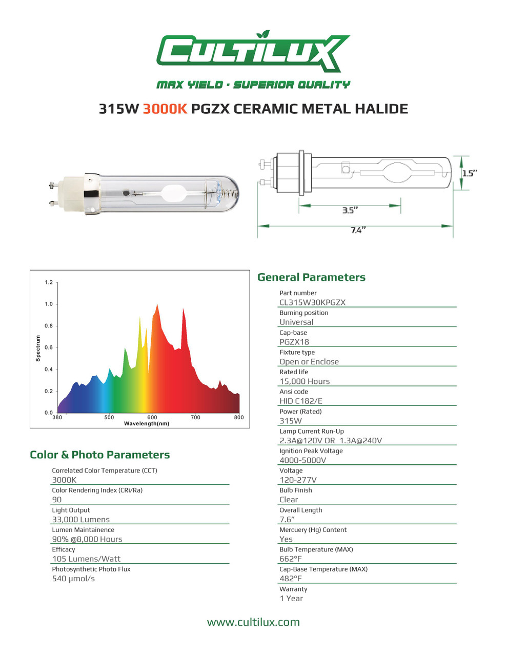 Cultilux CMH 315W 3000K + UV Grow Lamp