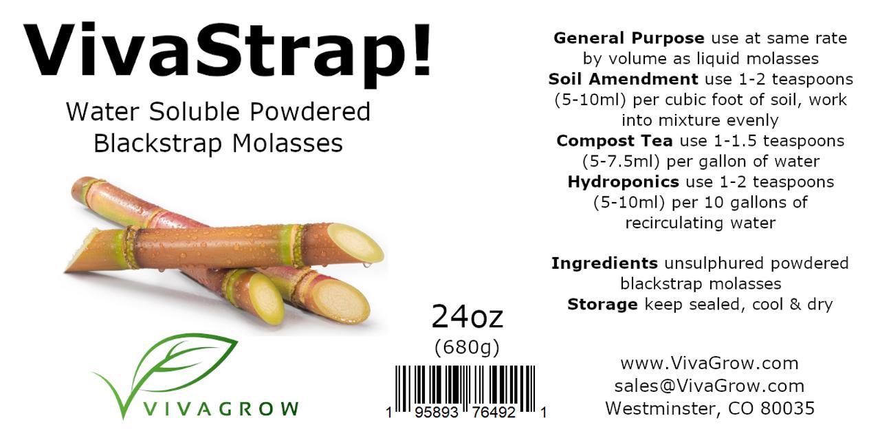 VivaStrap Powdered Blackstrap Molasses 24oz by VivaGrow  195893764921