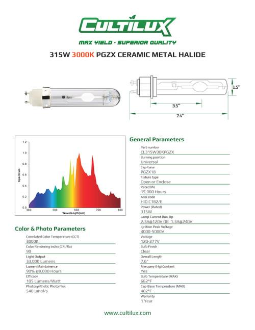 Cultilux CMH+UV 315W PGZX 3000K Gen2 Grow Lamp