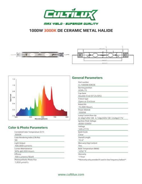 Cultilux CMH 1000W Double Ended 3000K + UV Grow Lamp