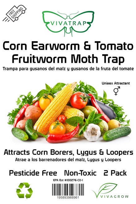 VivaTrap Corn Earworm and Tomato Fruitworm trap by VivaGrow.  Also attracts Corn Borers, Loopers, and Lygus.  2 Pack, non-toxic, pesticide free.