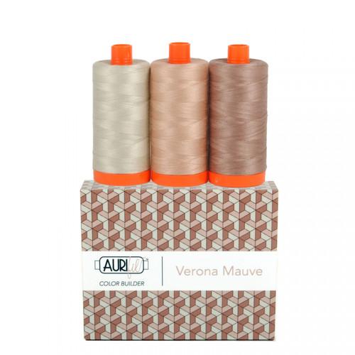 Aurifil Verona Mauve Cotton Mako Color Builder 50wt 3pc Set # AC50CP3-011 Thread