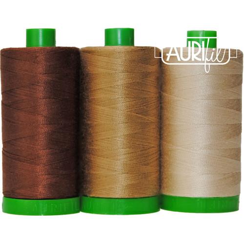 Aurifil Pangolin Brown Mako Color Builder 40wt 3pc # AURAC40CP3-011 Thread
