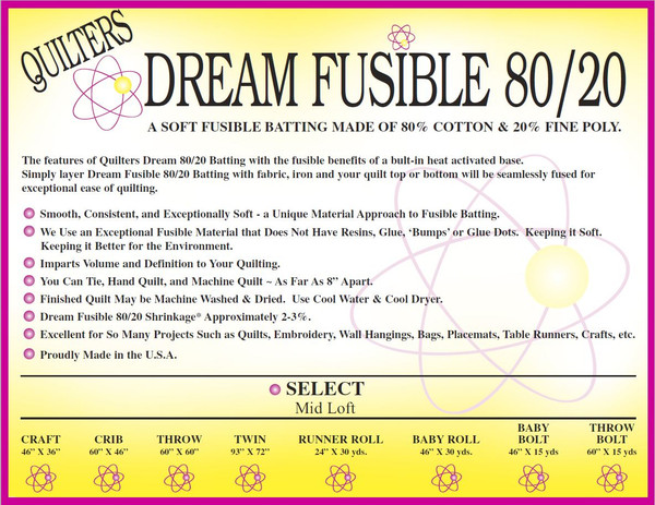 Quilters Dream Fusible 80/20 Blend Quilt Batting