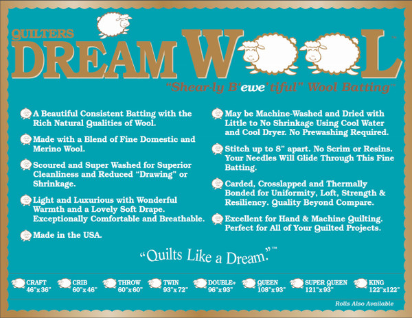 Quilters Dream Wool Batting-Choose Your Size