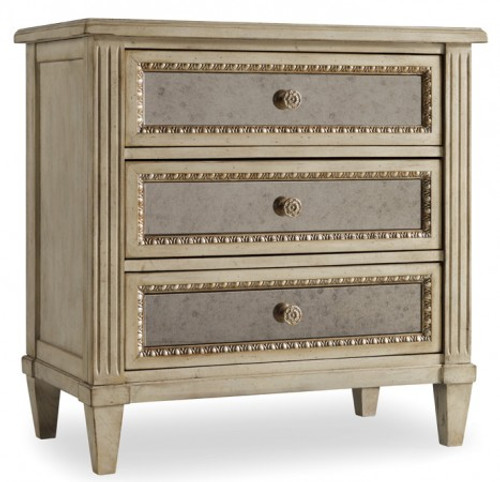 Mirrored Night Table, French Style 3 drawer