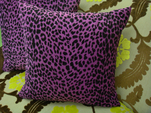 Leopard Print Throw Pillow Cover, Magenta & Black