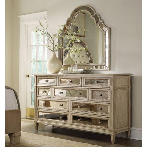 Antique Mirrored Dresser / 10 Drawer