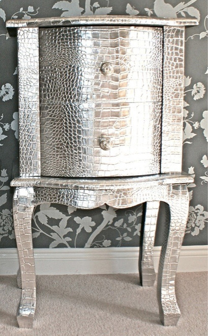 French Side Table, 2 drawer Silver Crock