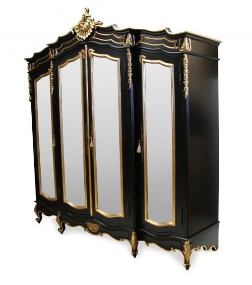 French Carved Wardrobe, 4 Door Black & Gold Gilt
