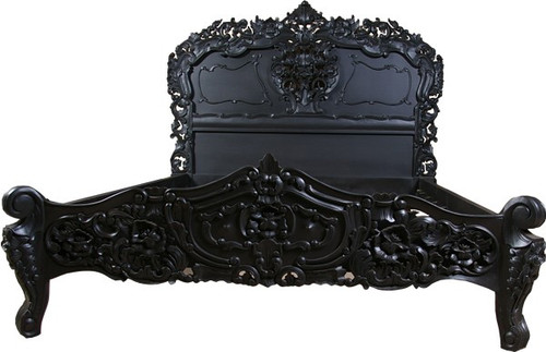 Rococo Carved Bed, Lacquer Black