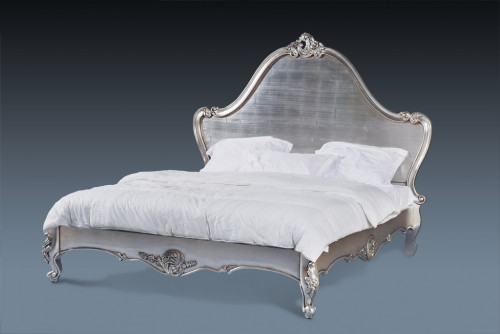 French Bed, Silver softly carved