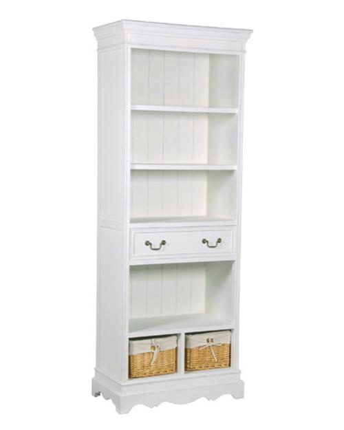 Narrow Bookcase Dresser, White