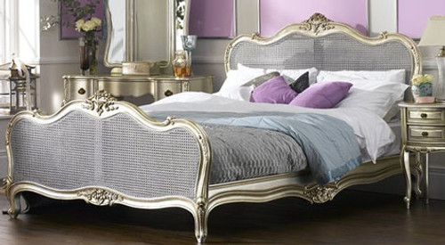 The Alexandria bed Silver Rattan Bed