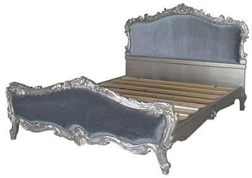 French Softly Carved Upholstered Bed, Silver leaf & Blue Velvet