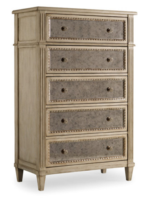 Mirrored Tallboy Chest, Traditional 5 Drawer French Style