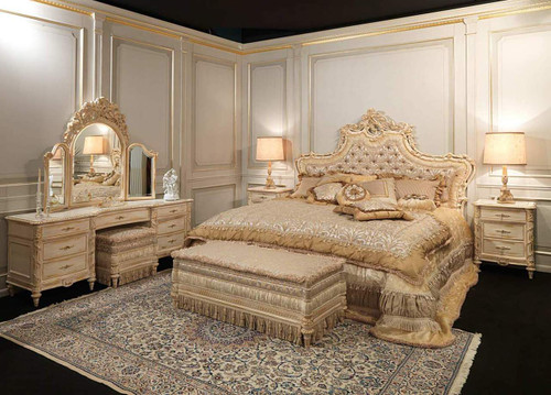 Upholstered Louis XVI Headboard, white and Gold