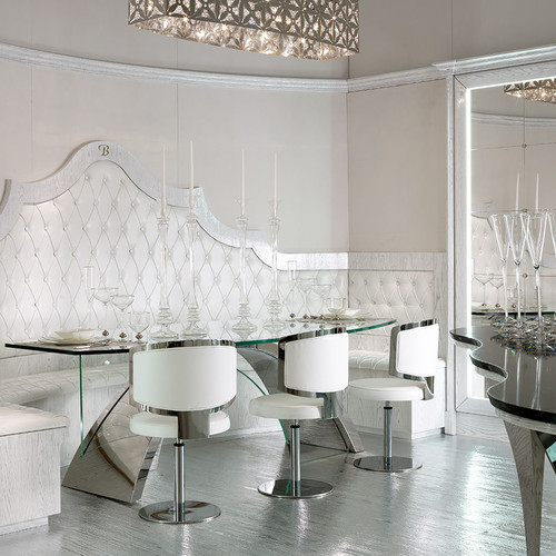 Luxury Dining Table set, Silver & White