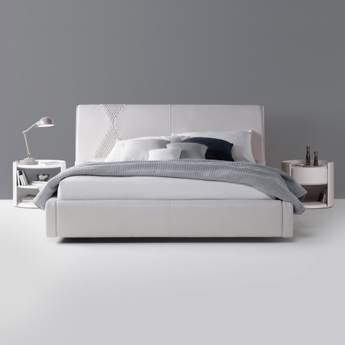 Modern Leather Bed, White Soft Leather