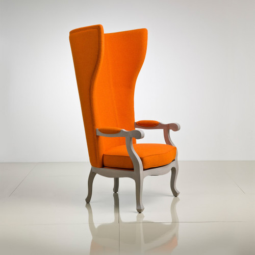 Wing Chair, Cognac Leather & Silver Leaf finish