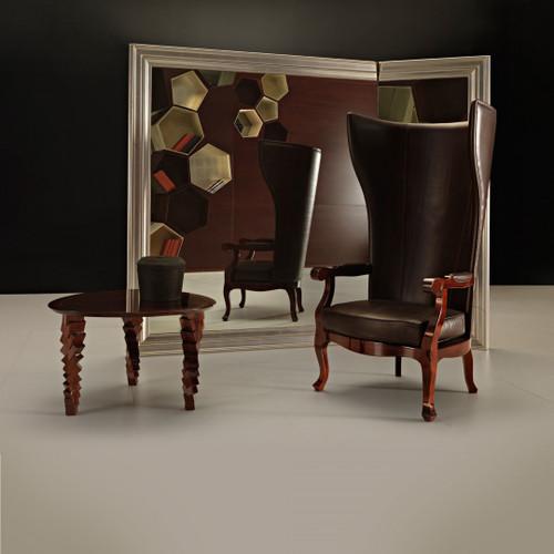 Wing Chair, Testa Di Moro Leather & Shiny Mahogany Finish