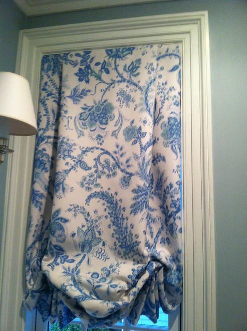 Tailored Balloon Shade / Soft Roman Shade, Blue & White Printed Fabric