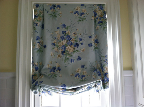 Tailored Balloon Shade / Soft Roman Shade, Blue Floral Country Print