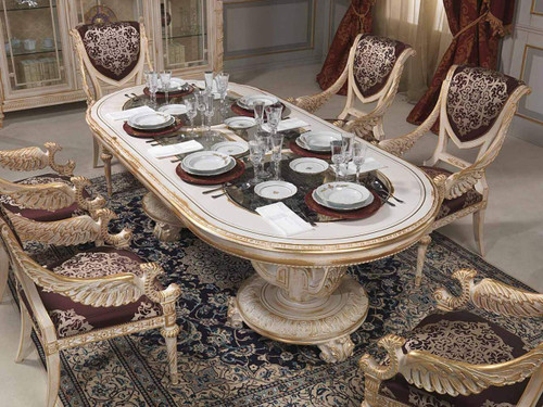 Luxury classic dining room set, Louis XVI white and gold