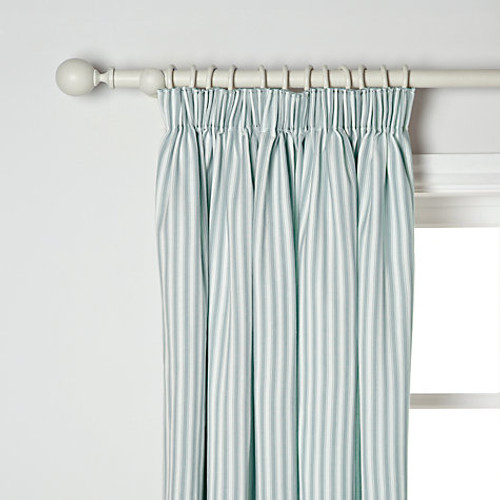 Ticking Curtains, Striped Pencil Headed, Green & White