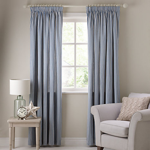 Ticking Curtains, Striped Pencil Headed, Blue & White