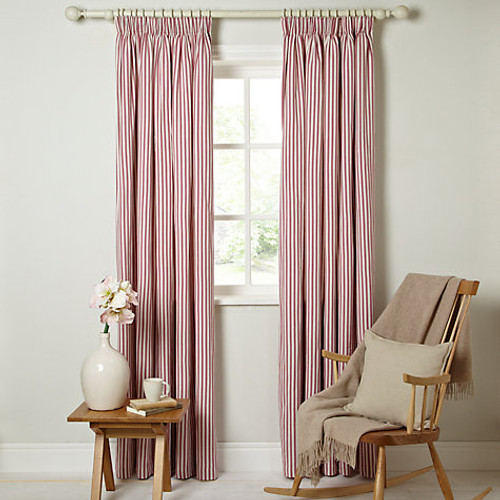 Ticking Curtains, Striped Pencil Headed, Red & White