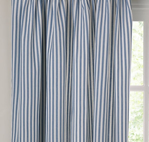 Blue and White ticking curtain
