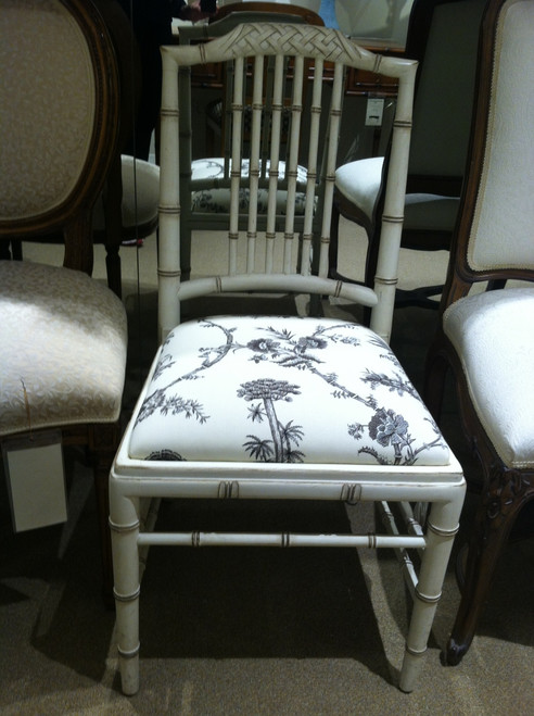 Side Chair, Bamboo style Antique White