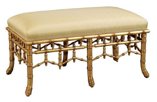 Bamboo Upholstered Bench, 6 legs