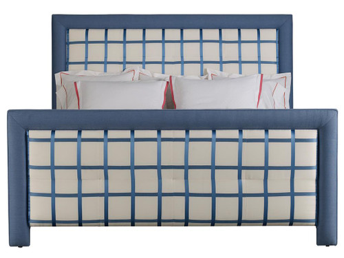 Upholstered Bed 1, Blue and White