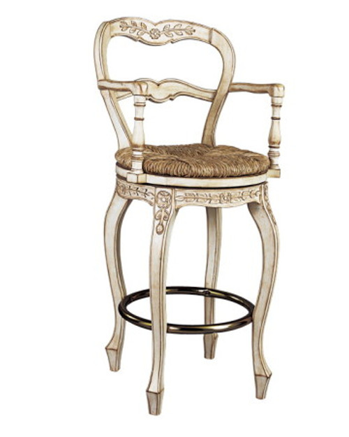 French Ladderback counter-height swivel stool with arms