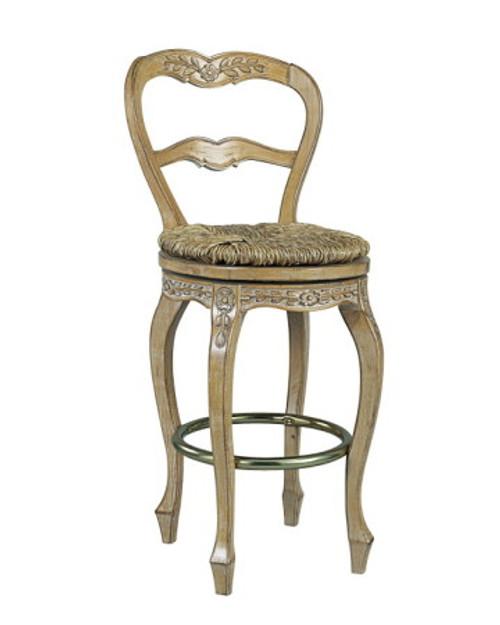 French Ladderback bar-height swivel stool