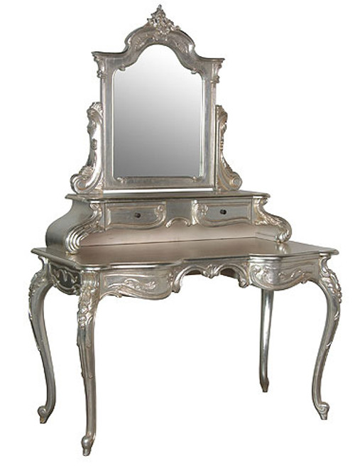 French Chateau Vanity Table, Chateau Silver