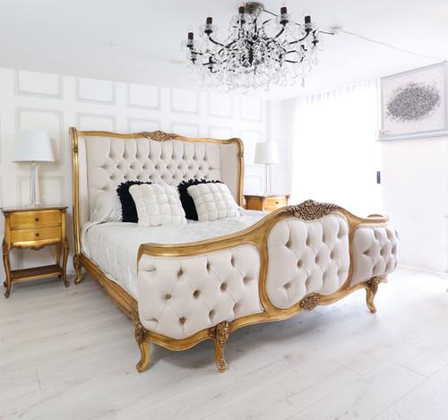 Wing Bed Tufted Bedroom Set, Versailles Gold Leaf