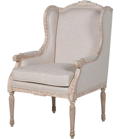 French Wing Chair, Chateau Whitewashed