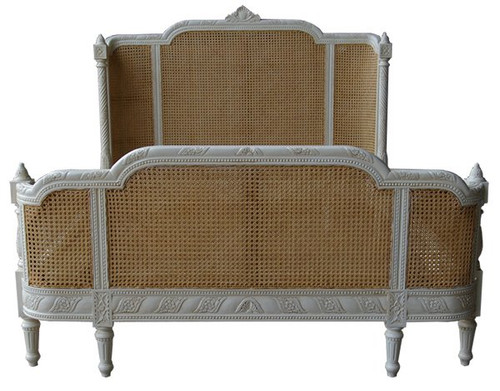 Rattan Bed, Natural & Slightly Distressed White