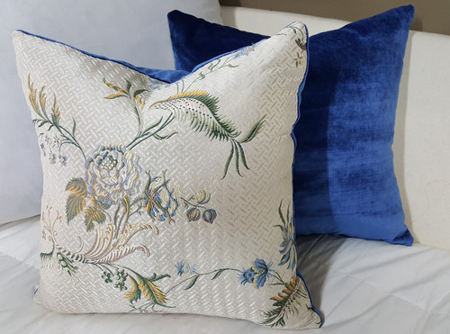 Silk Floral Boudoir Pillow, White Multi