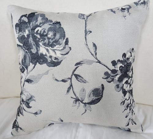 Floral Boudoir Pillow, Black And Grey