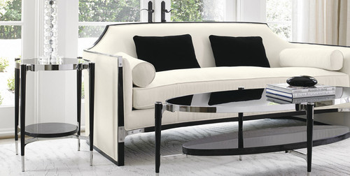 The Esquire Sofa upholstered with chrome detail