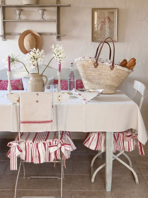 Red & White Ticking chair pad, fabric by Kate Forman