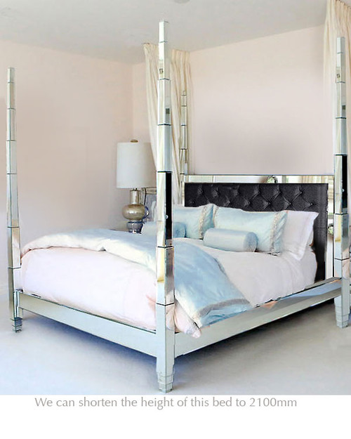 Four Poster Bed, Mirrored style King