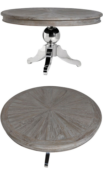 Rustic Chrome Pedestal Round Dining Table