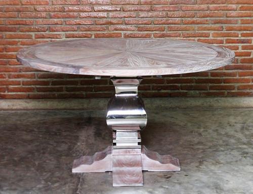 Chrome Base Pedestal Round Dining Table